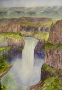 palouse falls watercolor landscape park washington vogtman