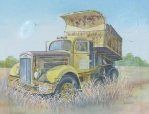 yellow dump truck pickup yellow vehicle klassen watercolor