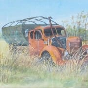 Exhausted pickup truck old abandone vehicle randy klassen watercolor