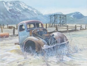 frosted fenders old pickup truck vehicle mountains watercolor klassen