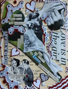 love air romantic nostalgic collage card schock