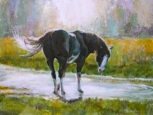 horse wild animal painting equine jan fontecchio