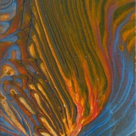 Deep Blue and Orange Waves