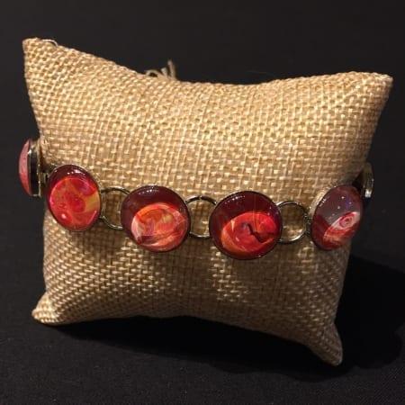 Acrylic Pour Bracelet - Red