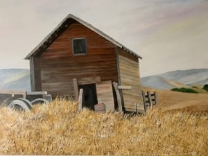 country barn wheat field landscape mary soper acrylic painting