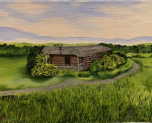 cabin country landscape view road mary soper acrylic art
