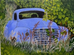 old blue truck abandoned road field mary soper acrylic art