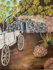 wagon country road pioneer vintage vehicle mary soper acrylic painting