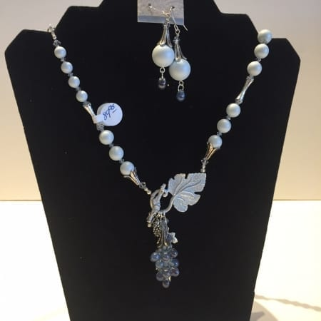 Necklace & Earrings Set - Leaf & Grape Design