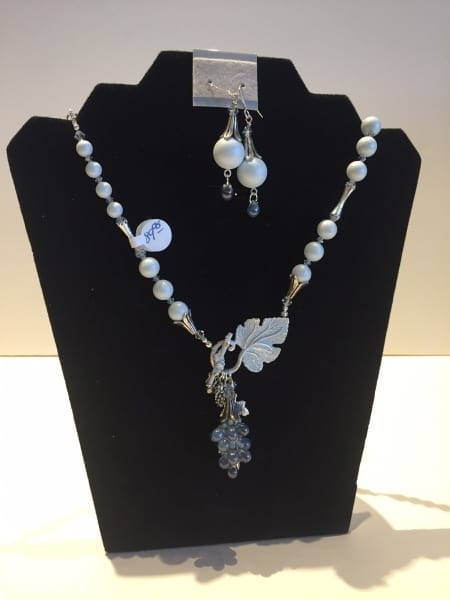 Necklace & Earrings Set - Leaf & Grape Design