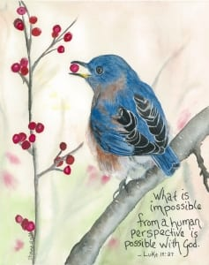 Possible with God bird watercolor Luke Shawna Wright