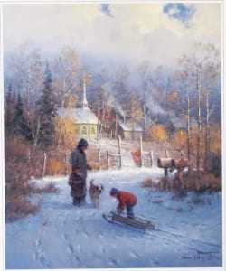 child sledding helpful father nostalgic harvey print art