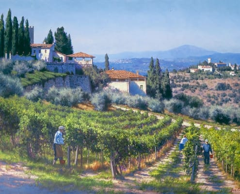harvest busy laborers farmers vineyard june carey art print