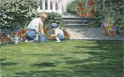 mother child gardening teaching family mike capser art print