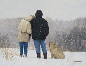 tender moments couple close hugging snow john weiss romantic art