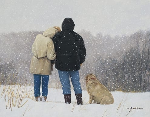 tender moments couple close hugging snow john weiss romantic art