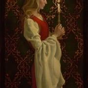 Virtue woman candle nostalgic religious perceptive james christensen