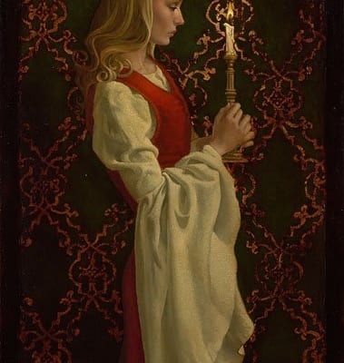 Virtue woman candle nostalgic religious perceptive james christensen
