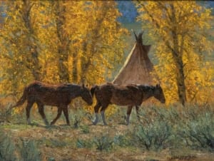 indian summer horse teepee forest woods james reid artist