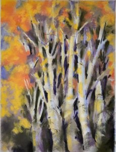 aspenglow trees orange woods forest edna bjorge art