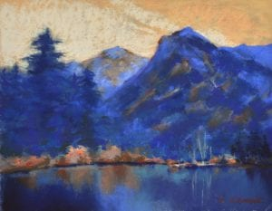 Cooper ridge mountain lake landscape pastel painting Edna Bjorge art