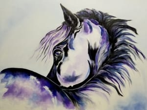 purple horse equine animal ranch rodeo tanna scott art