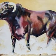 rodeo bull western art animal cattle cow tanna scott