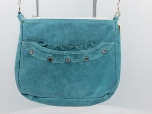 Karol turquoise suede leather handcrafted purse pozzanghera