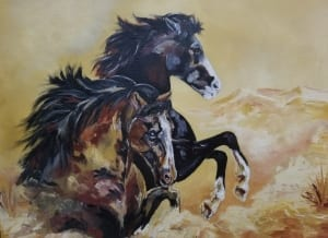 two horse animal equine rodeo painting tanna scott art