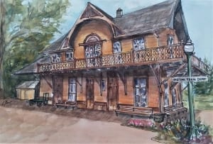 dayton depot train station cheryll root watercolor
