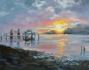 sunrise landscape water morning dawn time peaceful impressionsim pittenger