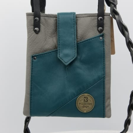 Gray and Turquoise Leather Bag
