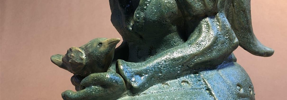 kneeling woman green ceramic pottery figurative statue collista krebs