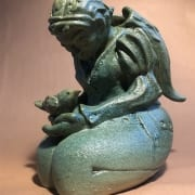 kneeling woman green ceramic pottery figurative statue collista krebs