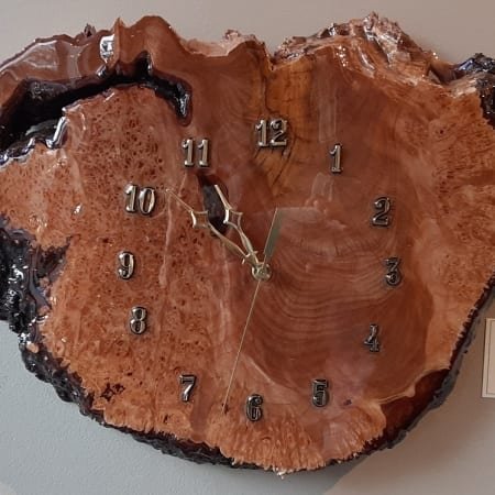 maple burl wooden clock time leonard mccreary