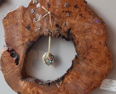 maple burl clock wood pendulum time leonard mcreary