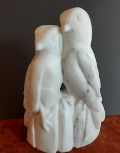 perfect pair birds stone carving sandra sarve