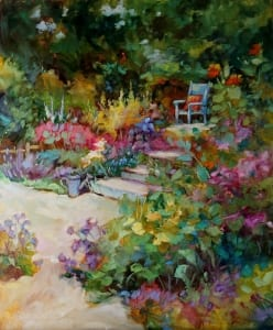 garden flowers color path happy plants carol betker impressionist painting