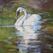water dance swan bird painting impressionist relaxed not uptight