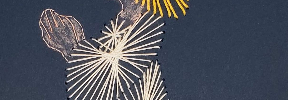 angel girl string thread art card kneeling lois hemphill