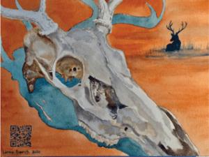 deer yorick skull qr code watercolor lorna barth