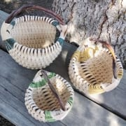 white basket trio birch bark woven lisa kostelak