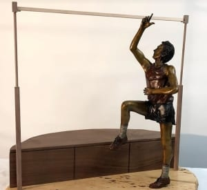 high jumper bronze statue fosbury flop larry kessie