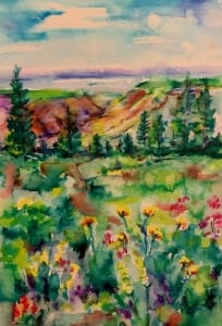 wild garden sketch landscape mountains wilderness watercolor helen boland