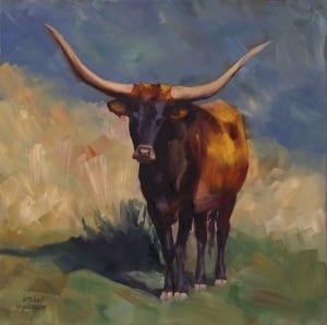 longhorn cow cattle livestock communicating painting country jordan henderson