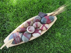 red cane japanese wrapped stones rocks denise wagner