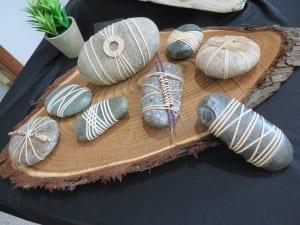 Japanese wrapped stones wood platter design denise wagner