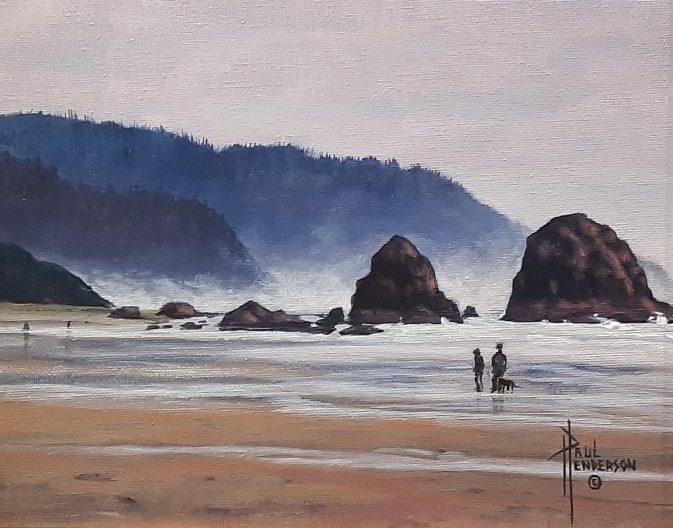 beach coast oregon small painting paul henderson