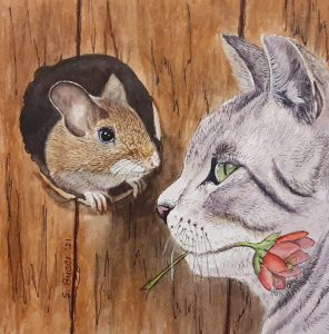 mouse cat friends flower small painting steph bucci