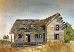 cabin homestead idaho house watercolor gottschalk